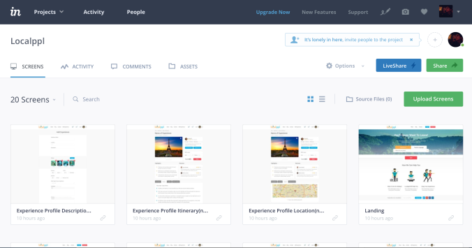 Invision Home page