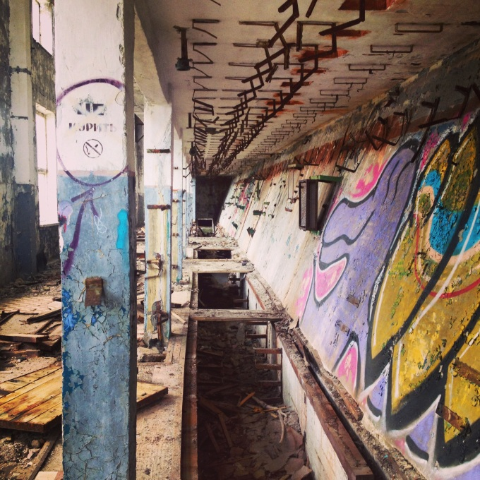 Inside Hara, the abandoned submarine base.